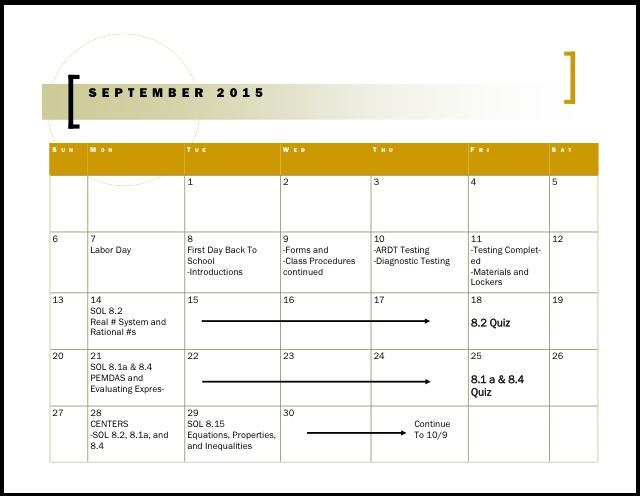 Homework / Calendar – Math 7 & Math 7/8